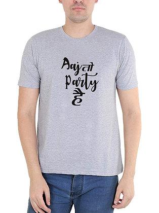 Aaj To Party Hai   Printed Regular Fit Round Men's T-shirt