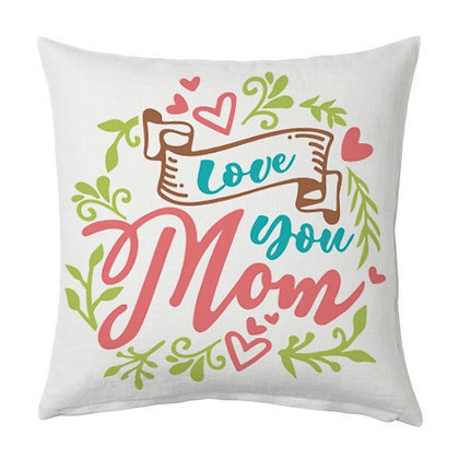 Love u mom Printed Poly Satin Cushion Pillow Cover with Filler