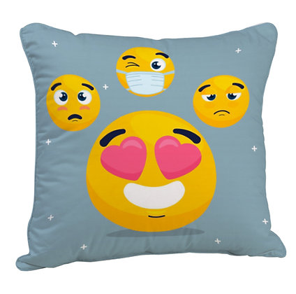 Emoji with Grey Theme Satin Cushion Pillow Cover with Filler