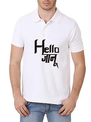 Hello Janu Printed Regular Fit Polo Men's T-shirt