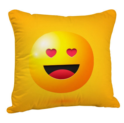 Smiling Face with Heart-Eyes EMOJI Satin Cushion Pillow Cover with Filler