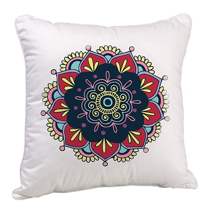 Beautiful Rangoli with White Base Satin Cushion Pillow with Filler