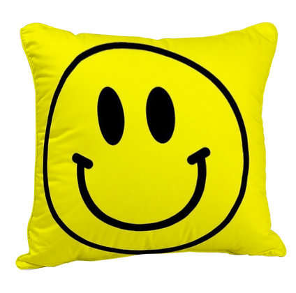Smiley Face Printed Poly Satin Cushion Pillow with Filler