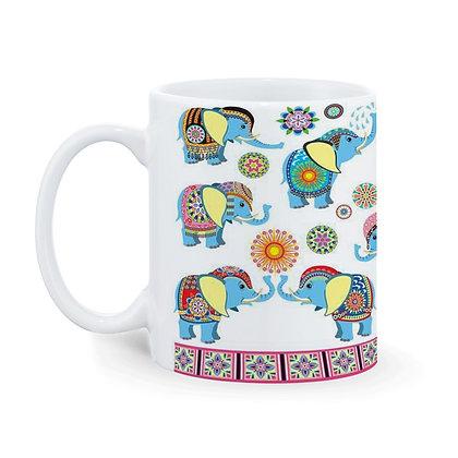 Elephant Theme Pattern Ceramic Coffee Mug 325 ml