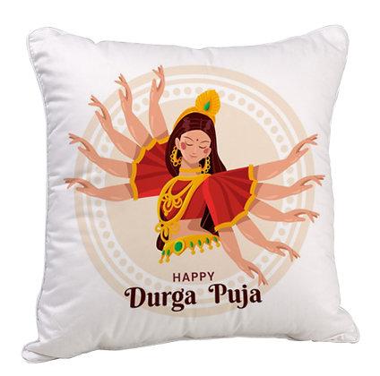 Maa Durga Puja Satin Cushion Pillow with Filler