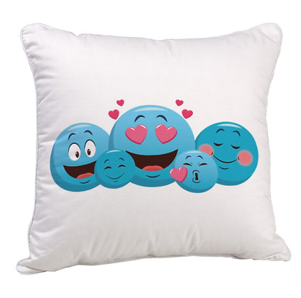 Love Blue EMOJI Pattern Satin Cushion Pillow Cover with Filler