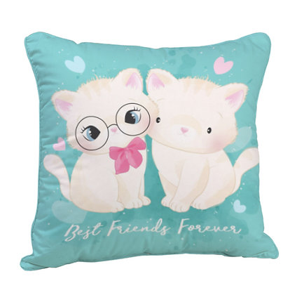 Best Friends Forever Satin Cushion Pillow with Filler