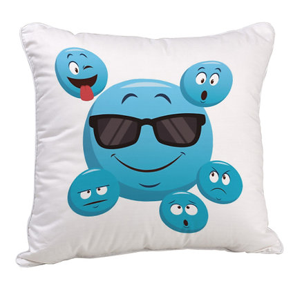 Cool Blue Emoji Pattern Satin Cushion Pillow Cover with Filler