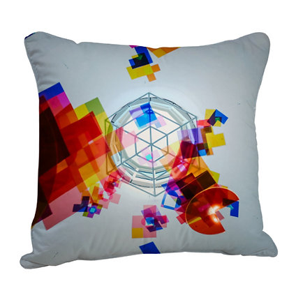 Abstract Colorful Artwork Satin Cushion Pillow with Filler