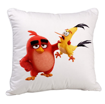 Angry Birds Printed Poly Satin Cushion Pillow with Filler