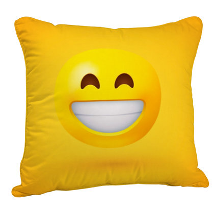 Beaming Face with Smiling Eyes EMOJI Satin Cushion Pillow Cover with Filler
