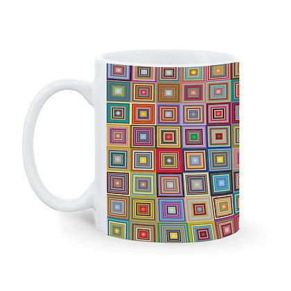 3d Mirror Square Blocks Pattern Ceramic Coffee Mug 325 ml