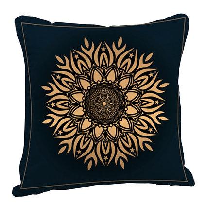 Beautiful Golden Rangoli with Green Theme Satin Cushion Pillow with Filler
