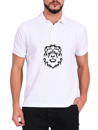 Lion Printed Regular Fit Polo Men's T-shirt