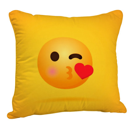 Face Blowing a Kiss EMOJI Satin Cushion Pillow Cover with Filler