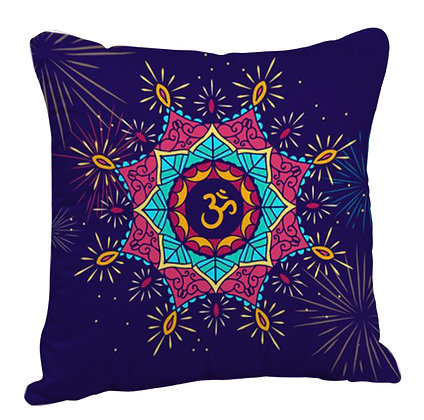 OM Rangoli with Blue Theme Satin Cushion Pillow with Filler