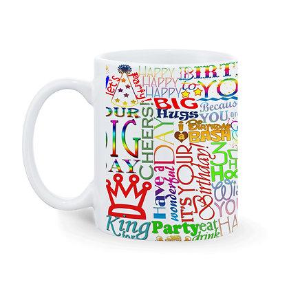 Happy Birthday Wishes Word Cloud Printed Ceramic Coffee Mug 325 ml