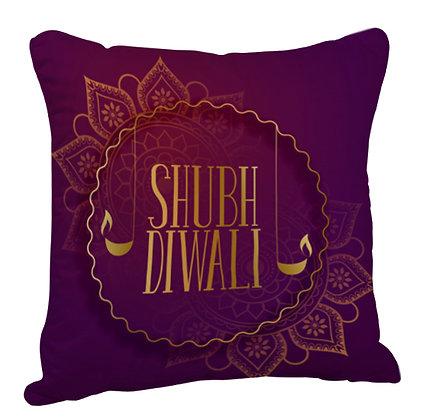 Shubh Diwali Satin Cushion Pillow with Filler