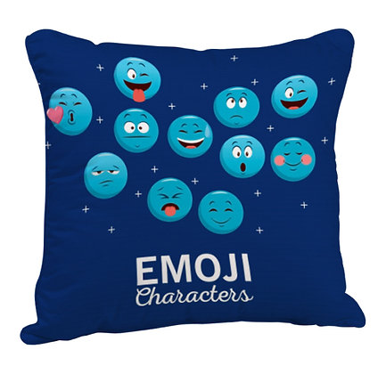 Skyblue EMOJI Pattern Satin Cushion Pillow Cover with Filler