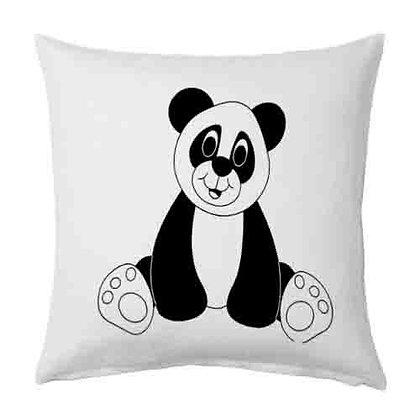 Cute Bear Printed Poly Satin Cushions Pillow Cover with Filler