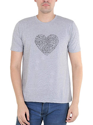 Heart Printed Regular Fit Round Men's T-shirt