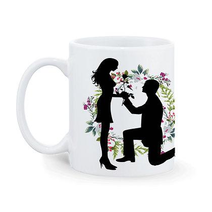 Couple Marriage proposal Printed Ceramic Coffee Mug 325 ml