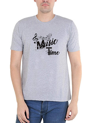 Music Time Printed Regular Fit Round Men's T-shirt