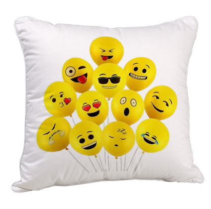 GROUP OF EMOJI BALLOONS Printed Poly Satin Cushion Pillow Cover with Filler