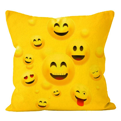 Many Faces of Laughing & Joy EMOJI Printed Poly Satin Cushion Pillow Cover w