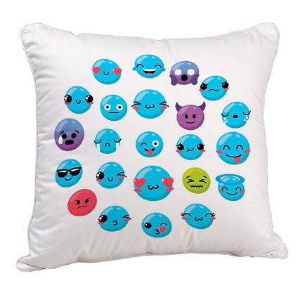Groupof All Blue EMOJI Satin Cushion Pillow Cover with Filler