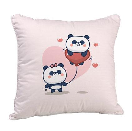 Couple Panda Satin Cushion Pillow with Filler