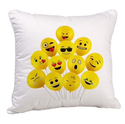 GROUP OF EMOJI BALLOONS Printed Poly Satin Cushion Pillow Cover with Fil