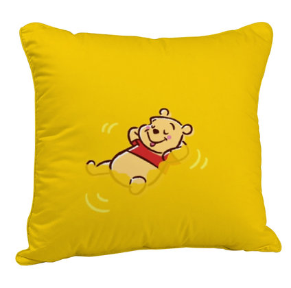 Cartoon Pooh Printed Poly Satin Cushion Pillow Cover with Filler