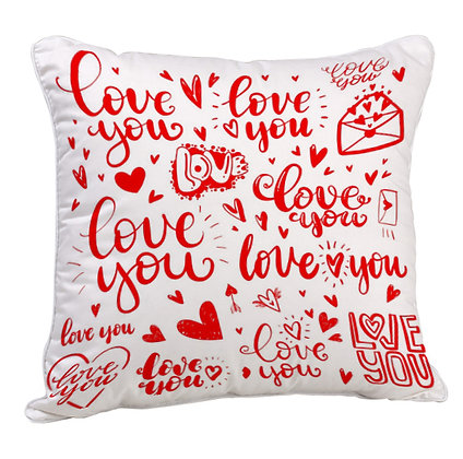 Love Pattern Satin Cushion Pillow with Filler