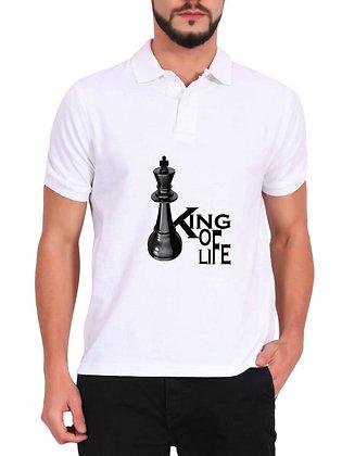 King Of Life Printed Regular Fit Polo Men's T-shirt