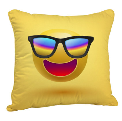 Grinning Face with Sunglasses EMOJI Satin Cushion Pillow Cover with Filler