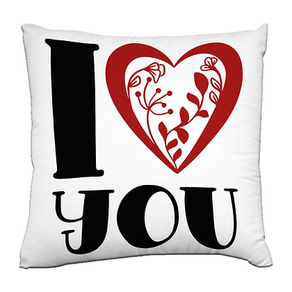 I LOVE YOU Printed Poly Satin Cushions Pillow Co