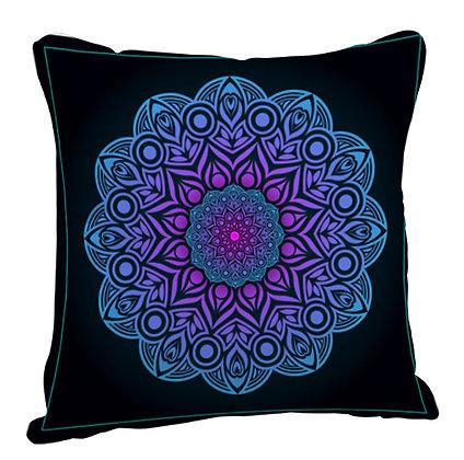 Beautiful Blue Rangoli with Black Theme Satin Cushion Pillow with Filler