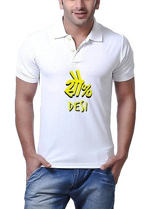 100% Desi Printed Regular Fit Polo Men's T-shirt