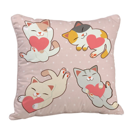Cat in Love Satin Cushion Pillow with Filler