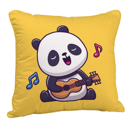 Singing Panda Satin Cushion Pillow with Filler