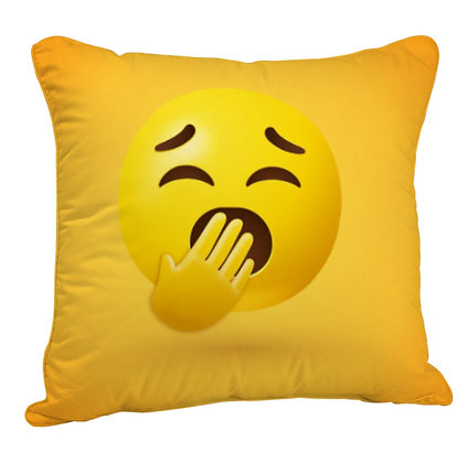 Sleepy Face EMOJI Satin Cushion Pillow Cover with Filler