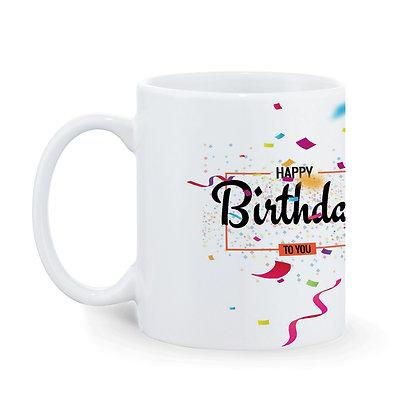 Happy Birthday Printed Ceramic Coffee Mug 325 ml