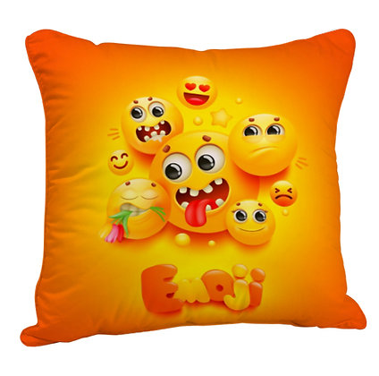 Funny EMOJI Pattern Satin Cushion Pillow Cover with Filler