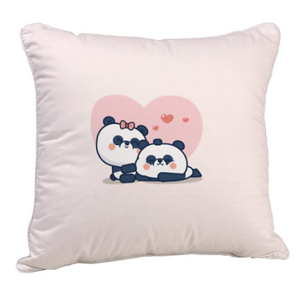 Couple Sleeping Panda Satin Cushion Pillow Cover with Filler