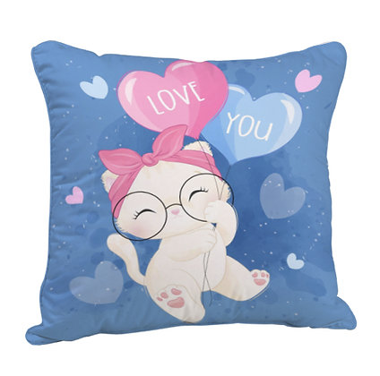 Love You Satin Cushion Pillow with Filler