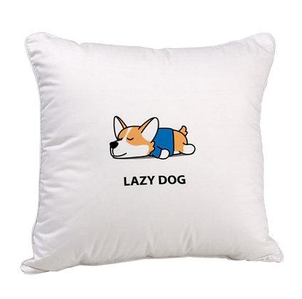 Lazy Dog Satin Cushion Pillow with Filler