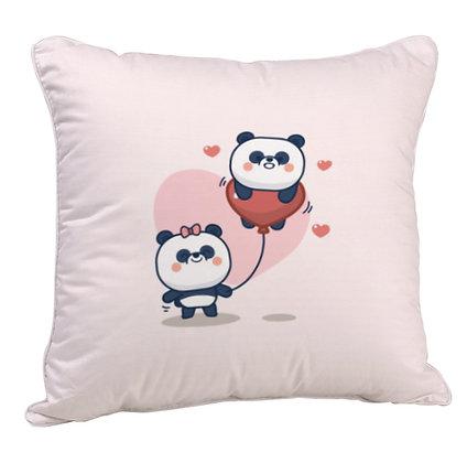 Couple Cute Panda Satin Cushion Pillow Cover with Filler