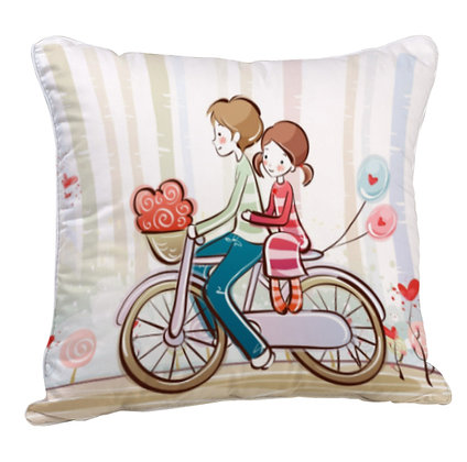 Couple  Printed Poly Satin Cushion Pillow with Filler