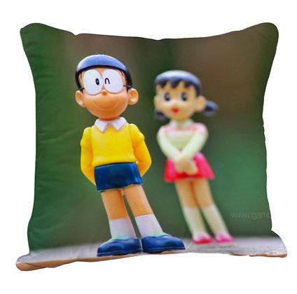 Nobita Shizuka Printed Poly Satin Cushion Pillow with Filler
